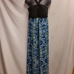Soma Blue and Black Long Maxi Spring Dress